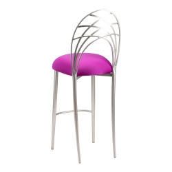 Silver Piazza Barstool with Plum Stretch Knit Cushion