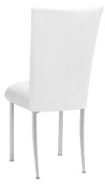 White Suede Chair Cover and Cushion on Silver Legs