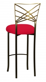 Two Tone Fanfare Barstool with Million Dollar Red Knit Cushion