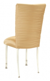 Chloe Gold Stretch Knit Chair Cover and Cushion on Ivory legs