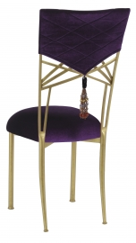 Eggplant Velvet Hat and Tassel Chair Cover with Cushion on Gold Fanfare