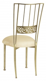 Gold Bella Fleur with Champagne Metallic Knit Cushion