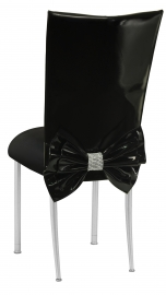 Black Patent Leather Chair Cover with Rhinestone Bow and Black Stretch Knit Cushion on Silver Legs