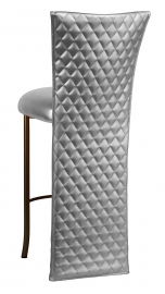 Silver Quilted Leatherette Barstool Jacket with Silver Leatherette Boxed Cushion on Brown Legs