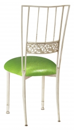 Ivory Bella Fleur wth Metallic Lime Knit Cushion