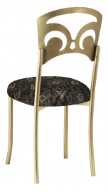 Gold Fleur de Lis with Black Lace with Gold and Silver Accents over Black Knit Cushion