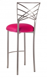 Silver Fanfare Barstool with Fuchsia Velvet Cushion