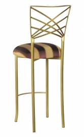 Gold Fanfare Barstool with Brown and Gold Stripe Cushion