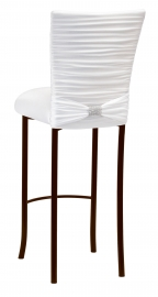 Chloe White Stretch Knit Barstool Cover with Rhinestone Accent Band and Cushion on Brown Legs