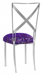 Silver Simply X with Purple Paint Splatter Knit Cushion