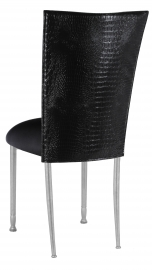 Black Croc Chair Cover with Black Stretch Knit Cushion on Silver Legs