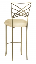 Gold Fanfare Barstool with Champagne Metallic Knit Cushion