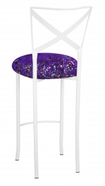 Simply X White Barstool with Purple Paint Splatter Cushion