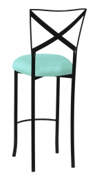 Blak. Barstool with Tropic Teal Taffeta Boxed Cushion
