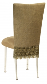 Burlap Flamboyant 3/4 Chair Cover with Camel Suede Cushion on Ivory Legs