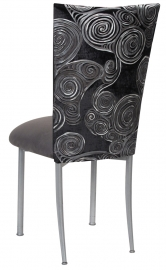 Black Swirl Velvet Chair Cover with Charcoal Suede Cushion on Silver Legs