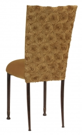 Gold Circle Ribbon Taffeta Chair Cover with Gold Velvet Cushion on Mahogany Legs