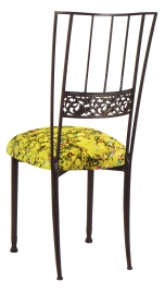 Mahogany Bella Fleur with Yellow Paint Splatter Knit Cushion