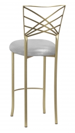 Gold Fanfare Barstool with Metallic Silver on Silver Knit