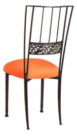 Mahogany Bella Fleur with Tangerine Stretch Knit Cushion
