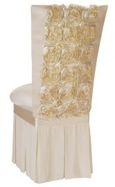 Ivory Rosette Chair Cover with Ivory Stretch Knit Cushion and Ivory Chiffon Skirt
