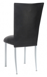 Black Leatherette Chair Cover and Cushion on Silver Legs