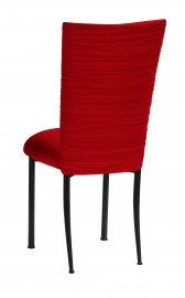 Chloe Red Stretch Knit Chair Cover and Cushion on Black Legs