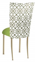 Blade Kaleidoscope Chair Cover with Lime Stretch Knit Cushion on Gold Legs