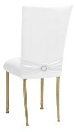 White Suede Chair Cover with Jewel Belt and Cushion on Gold Legs