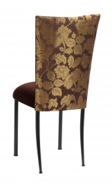 Gold and Brown Damask Chair Cover with Chocolate Suede Cushion with Brown Legs