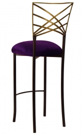 Two Tone Gold Fanfare Barstool with Deep Purple Velvet Cushion
