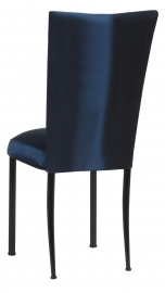 Midnight Blue Taffeta Chair Cover with Boxed Cushion on Black Legs