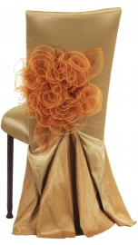 Gold Taffeta BET Dress with Boxed Cushion on Mahogany Legs