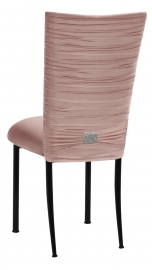 Chloe Blush Stretch Knit Chair Cover with Rhinestone Accent and Cushion on Black Legs
