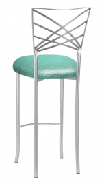 Silver Fanfare Barstool with Mermaid Knit Cushion