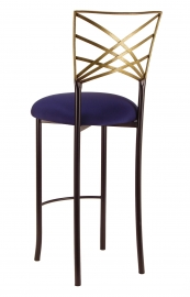 Two Tone Gold Fanfare Barstool with Navy Blue Stretch Knit Cushion