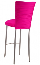 Chloe Hot Pink Stretch Knit Barstool Cover and Cushion on Silver Legs