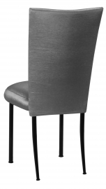 Charcoal Taffeta Chair Cover with Boxed Cushion on Black Legs