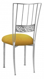 Silver Bella Fleur with Canary Suede Cushion