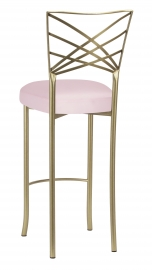 Gold Fanfare Barstool with Soft Pink Satin Boxed Cushion