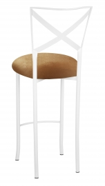 Simply X White Barstool with Gold Velvet Cushion
