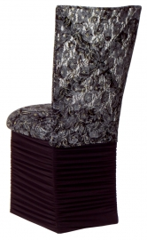 Simply X with Black Lace Chair Cover and Black Lace over Black Stretch Knit Cushion with Chloe Skirt