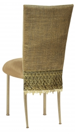 Burlap Fancy 3/4 Chair Cover with Camel Suede Cushion on Gold Legs