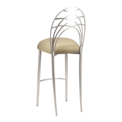 Silver Piazza Barstool with Sage Suede Cushion