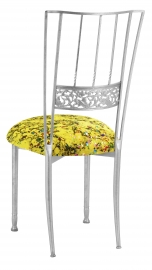 Silver Bella Fleur with Yellow Paint Splatter Knit Cushion