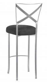 Silver Simply X Barstool with Charcoal Linette Boxed Cushion