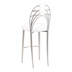 Silver Piazza Barstool with White Suede Cushion