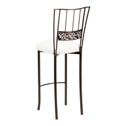 Bella Fleur Mahogany Barstool with White Leatherette Cushion