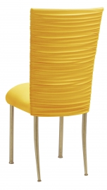 Chloe Bright Yellow Stretch Knit Chair Cover and Cushion on Gold Legs
