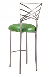Silver Fanfare Barstool with Metallic Lime Cushion